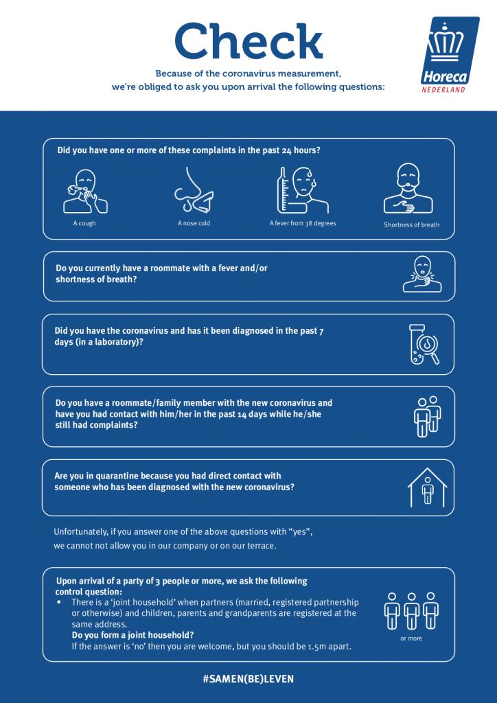 Gezondheidscheck vragen (Engels)